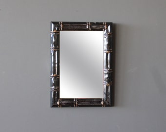 Black Lacquer Faux Bamboo Wall Mirror