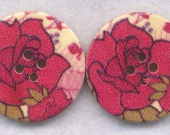 Red Rose Buttons Decorated Wooden Buttons 30mm (1 1/4 inch) Set of 2 /BT369