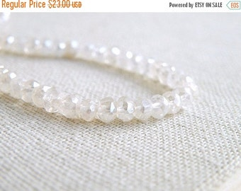 Clearance SALE Mystic Quartz Gemstone Ivory Champagne Rondelle Faceted 4 mm FULL Strand 110 beads