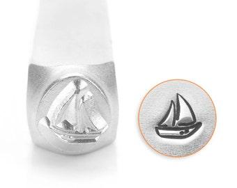 Sailboat Design Stamp, Metal Stamp, Carbon Steel Stamp, ImpressArt Stamp, SC1519-O-6MM, Ocean Stamp, Yawl, Schooner, Dinghy, Ketch, Bopper