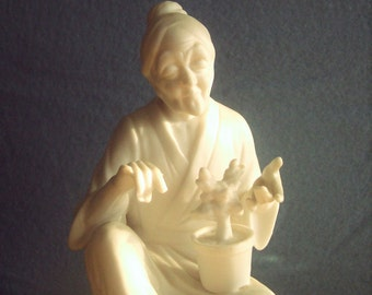 Vintage Chinese Monk Figure, Chinese Mud man Style, Oriental Wise Man Figurine, Confucius Statue, Asian Monk, Minor Flaw - See Description
