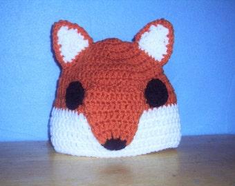 Fox Hat, Crocheted Fox Beanie, Toddler Fox Hat, Animal Hat, Baby Hat, Child Fox Hat