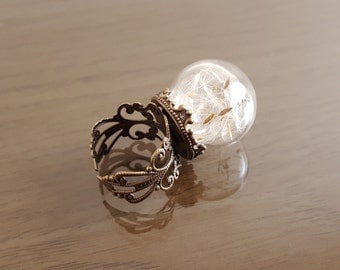 Dandelion seed ring, Make a Wish flower botanical ring, antique bronze filigree ring