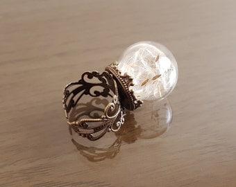 Dandelion seed ring, Make a Wish flower botanical ring, antique bronze filigree ring