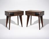 Mid Century Modern Side table Asymmetric with Drawer Walnut Wood Solid Wood Handmade Organic Finish Contemporary modern design