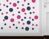 Set of 30 Hot Pink / Navy Blue Vinyl Polka Dot Wall Decals Circles Stickers (Peel & Stick Decal Circle Dots)