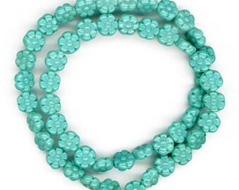 Vintage Blue Flower Beads 8mm Turquoise Glass Flat 24 Pcs.