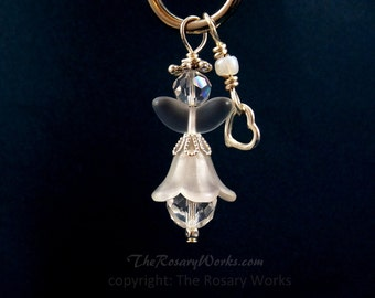 Christmas Angel Charm Guardian Angel Clear Crystal Auto Angel Angel CharWhite Unbreakable Wire Wrapped Stocking Stuffer by The Rosary Works