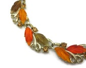 Leaf Necklace - Lisner, Thermoset and Rhinestones, Fall Autumn Colors, Costume Jewelry