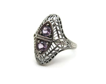 Art Deco Ring - Amethyst, Sterling Silver Filigree Jewelry, Two Stones