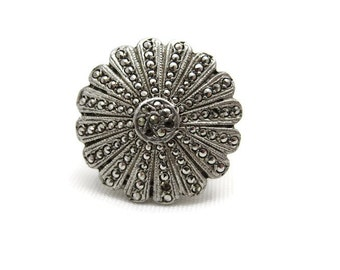 Art Deco Ring - Sterling Silver Marcasite Daisy Ring, Statement