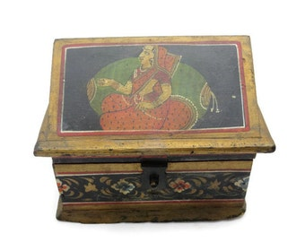 Folk Art Box - Gold, Black, Red and Green, Hand Painted