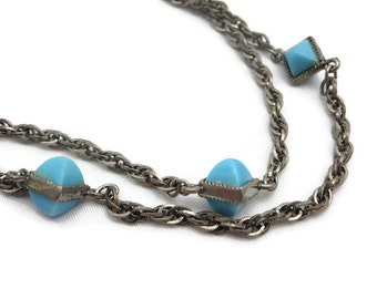 Art Deco Jewelry - Long Necklace, Robins Egg Blue Glass, Germany, Costume Jewelry