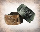 Wolf Watch Cuff, Watch Cuff, Leather Watch Strap, Leather Watch Band, Brown Watch Cuff, Men's Watch Cuff - Custom to You (1 cuff only)