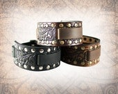 Riveted Oak and Acorn - Leather Watch Cuff, Leather Watch Strap, Leather Watch Band, Brown Watch Cuff, Men's Watch Cuff (1 Watch Cuff Only)