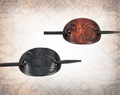 Small Scorpion Barrette, Leather Barrette, Hair Clip, Leather Barrette, Brown Barrette, Hair Slide - Custom to You (1 Barrette only)