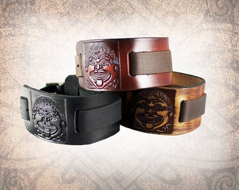 The Medusa - Leather Watch Cuff, Leather Watch Strap, Leather Watch Band, Black Watch Cuff, Men's Watch Cuff (1 Only)