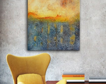 Abstract Painting, Blue Original Painting, Blue gold painting, Blue gold art, Gold blue gray art, large original, unique painting