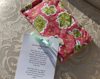 Rice Bag, Bohemian Festival, Therapeutic, Heating Pad, Hand Warmer, Gift, Flowers, Girl, Pink