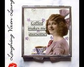 Coffee Gift Purse Mirror - Funny Pill Box - Caffeine Gift Compact Mirror - Retro Humor Pill Case - Pill Holder - Sassy Ladies SVL Awesome