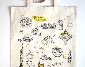 Taiwan Night Market and Street Food - Hand printed tote bag
