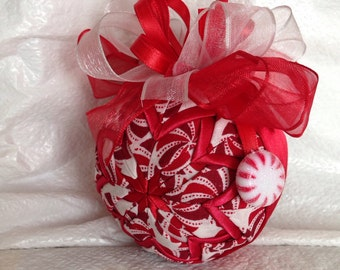Peppermint Candy Cane Quilted Christmas Ornament Hostess Gift Christmas Gift