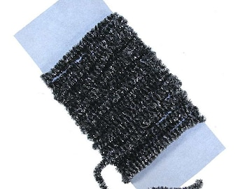 5 Yards Made In USA Black Rayon Chenille And Silver Tinsel Cording