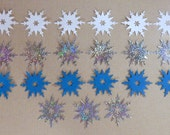 21 Snowflake Die Cuts Made With Anna Griffin Die 1.75 by 1.75 Inches Silver Holographic White and Turquoise Cardstock