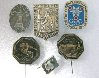 vintage 6 Soviet USSR metal pins 1968 Olympic for your altered art projects