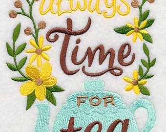 Time for Tea Embroidered Kitchen Tea Towel