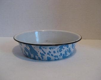 Vintage Blue Marbled Enamelware Graniteware Porcelain Farmhouse Pan