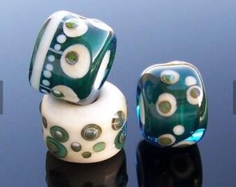 MruMru big hole Trio.  Handmade lampwork beads. Sra