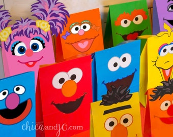Sesame Street Party Favor Bags -- DIGITAL -- Printables for Elmo, Bert, Ernie, Oscar, Big Bird, Cookie Monster, Grover, Abby, Zoe, Count