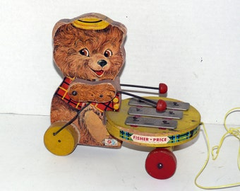 Fisher Price Teddy Zilo Pulltoy - vintage - Collectible - 1950's