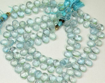 Aquamarine Large Smooth Pear Briolette Bead 16 inch strand