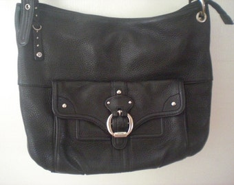 Stone Mountain Branded Black leather Shoulder Purse