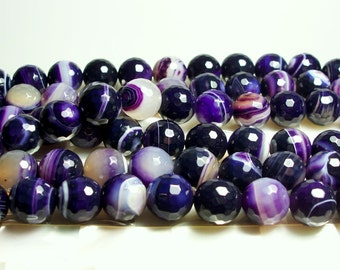 "14mm Purple Striped Agate Faceted Round Semi Precious Gemstone beads 15"" 28pc strand Jewelry Jewellery Beads Craft Supplies"