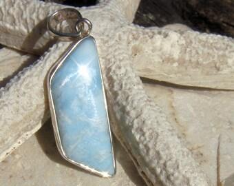 Authentic Polished Larimar Pendant with Silver Bezel OOAK