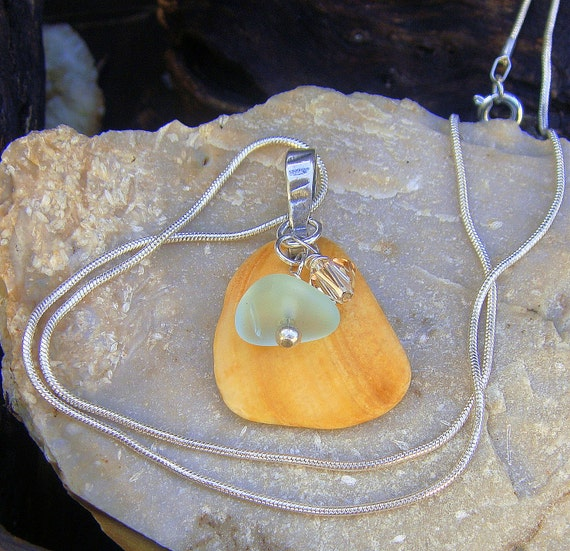 Cape Cod Seashell Sea Glass And Crystal Wire Wrapped Pendant