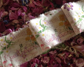 Vintage Style Tea Dyed Hand Frayed Ribbon Trim - French Script and French Wildflowers