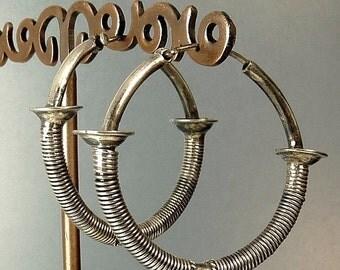 Vintage Sterling Silver Ethnic Tribal Pierced Hoop Earrings