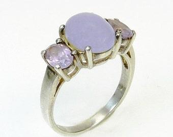 Vintage Sterling Silver Lavender Purple Gemstone Ring