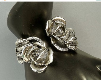 Vintage Silver Roses Hinged Cuff Bracelet