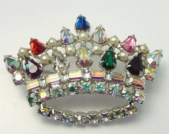 Vintage B David Rhinestone Crown Brooch