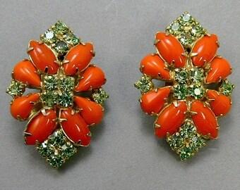 Vintage Orange & Green Citrine Rhinestone Clip Earrings