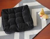 1:6 Scale Doll Black Corduroy Tufted Floor Pillow Blythe Momoko Pullip Barbie Fashion Royalty Doll House