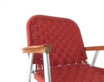 Vintage 70s Low Macrame Folding Aluminum Chair // Camping Beach Chair