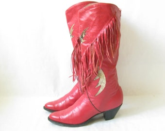 Vintage 80's Red Leather and Snake Skin Fringe Boots. Size 8