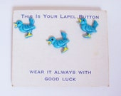 Vintage Mid Century Blue Bird ButtonPins Brooches on Origional card Fabulous!
