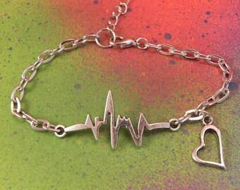 Silver EKG Nursing Charm Bracelet RN Cardiac Nurse Nurses Gift Heart